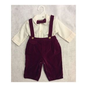 Vintage Baby Boys Outfit Pants Shirt Bow 3-6 Month